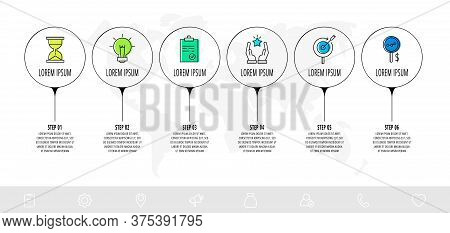 Infographic Circles With 6 Steps, Arrows. Line Vector Template. Can Be Used For Diagram, Business, W