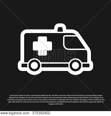 Black Ambulance And Emergency Car Icon Isolated On Black Background. Ambulance Vehicle Medical Evacu