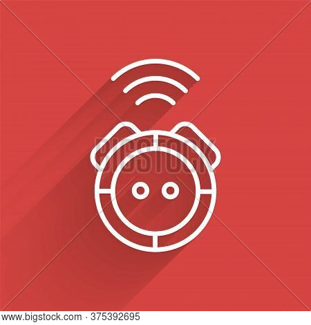 White Line Robot Vacuum Cleaner Icon Isolated With Long Shadow. Home Smart Appliance For Automatic V