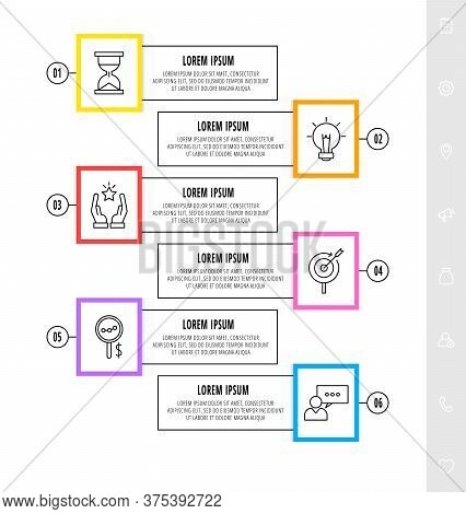 Vector Infographics Design Template With Icons. Six Steps. Modern Line Concept Can Be Used For Busin