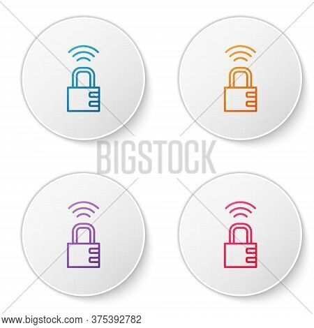 Color Line Smart Safe Combination Lock Icon Isolated On White Background. Combination Padlock. Secur