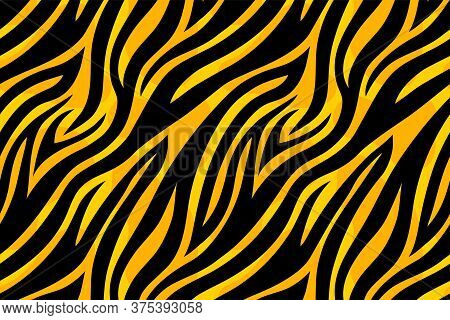 Trendy Yellow Tiger Pattern Background. Hand Drawn Fashionable Wild Animal Skin Texture For Fashion