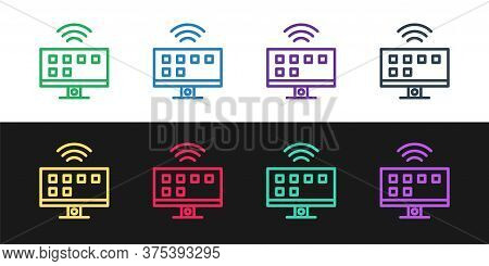 Set Line Smart Tv System Icon Isolated On Black And White Background. Television Sign. Internet Of T