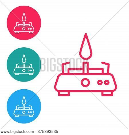 Red Line Camping Gas Stove Icon Isolated On White Background. Portable Gas Burner. Hiking, Camping E