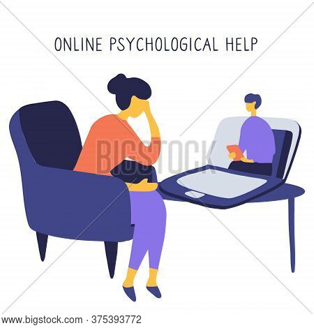 Internet Psychologist. Patient Discusses Problems Online With Therapist. Mental Health Adviser Leads