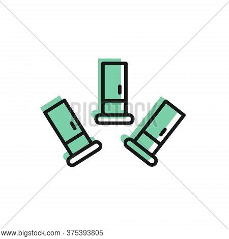 Black Line Cartridges Icon Isolated On White Background. Shotgun Hunting Firearms Cartridge. Hunt Ri