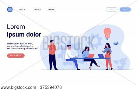 Company Employees Planning Task And Brainstorming Flat Vector Illustration. Cartoon People Sharing I