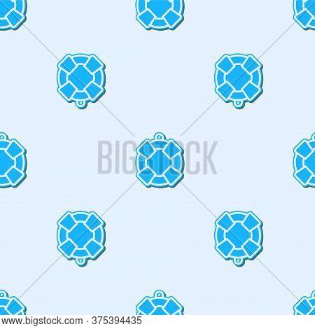 Blue Line Lifebuoy Icon Isolated Seamless Pattern On Grey Background. Lifebelt Symbol. Vector