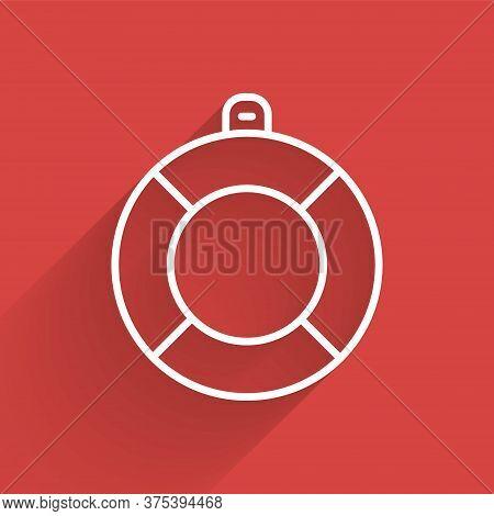 White Line Lifebuoy Icon Isolated With Long Shadow. Lifebelt Symbol. Vector