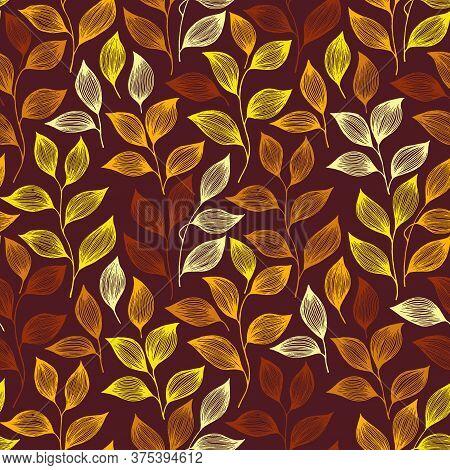 Packaging Tea Leaves Pattern Seamless Vector. Minimal Tea Plant Bush Leaves Floral Fabric Ornament.
