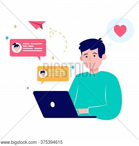 Happy Man Online Dating Via Laptop Isolated Flat Vector Illustration. Young Guy Sending Message, Cha