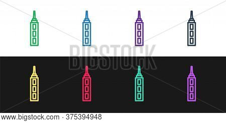 Set Line Skyscraper Icon Isolated On Black And White Background. Metropolis Architecture Panoramic L
