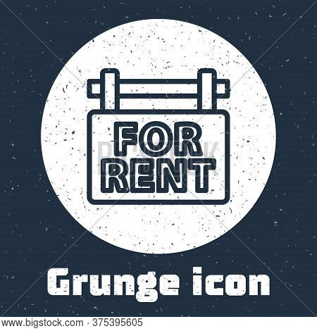 Grunge Line Hanging Sign With Text For Rent Icon Isolated On Grey Background. Signboard With Text Fo
