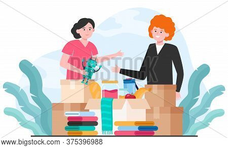 Generous Volunteers Donating Clothes, Toys And Food Isolated Flat Vector Illustration. Charity Team