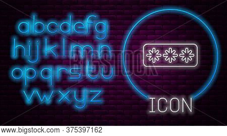 Glowing Neon Line Password Protection And Safety Access Icon Isolated On Brick Wall Background. Secu
