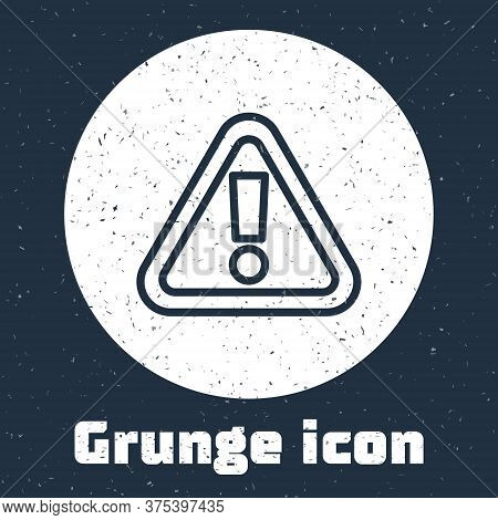 Grunge Line Exclamation Mark In Triangle Icon Isolated On Grey Background. Hazard Warning Sign, Care