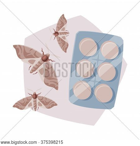 Pills Packing Of Clothes Moth Insecticide, Pest Control Service, Detecting And Exterminating Insects