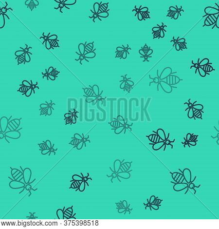 Black Line Bee Icon Isolated Seamless Pattern On Green Background. Sweet Natural Food. Honeybee Or A