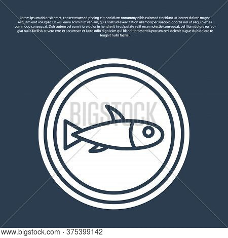 Blue Line Served Fish On A Plate Icon Isolated On Blue Background. Vector.