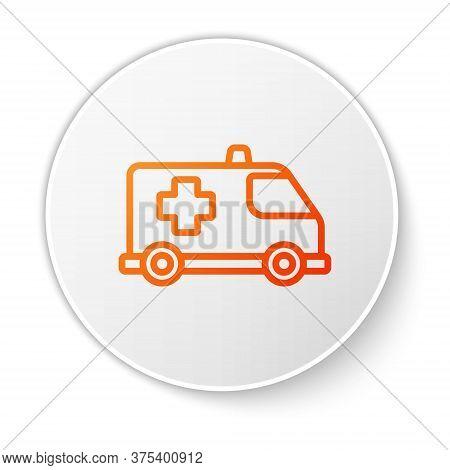 Orange Line Ambulance And Emergency Car Icon Isolated On White Background. Ambulance Vehicle Medical