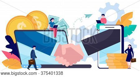 Tiny Business People Dealing Online Isolated Flat Vector Illustration. Partners, Sponsors And Invest