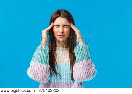 Health, Doctor, Medicine Concept. Waist-up Portrait Young Woman Feeling Unwell, Suffering Headache,