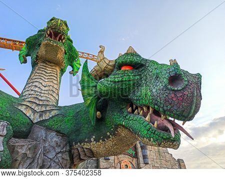 Sochi, Russia, 20 June 2020. Attraction Dragon In Sochi Park. Quarantine Coronavirus. No People. Rec