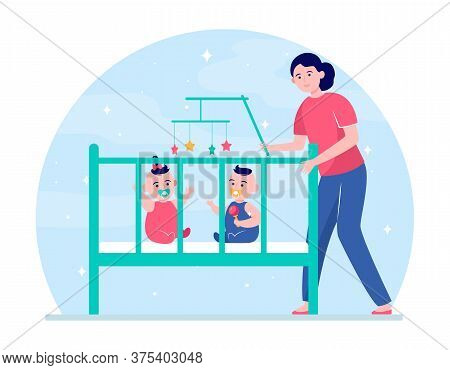 Mom Calming Down Twin Babies In Crib. New Mother Getting Kids Into Bed Flat Vector Illustration. Mot