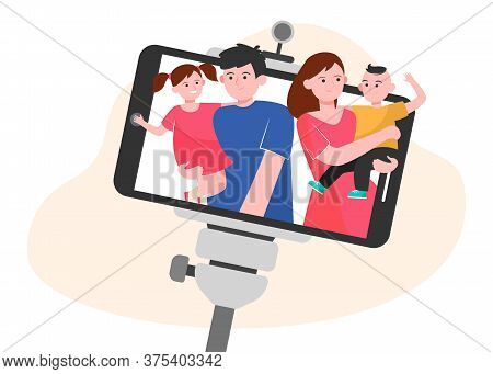 Family Selfie On Smartphone. Parents And Kids Taking Self Picture With Cellphone And Monopod Flat Ve