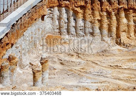 The Pit For The Construction Of An Underground Garage Under A Residential Building With Layers Of Re
