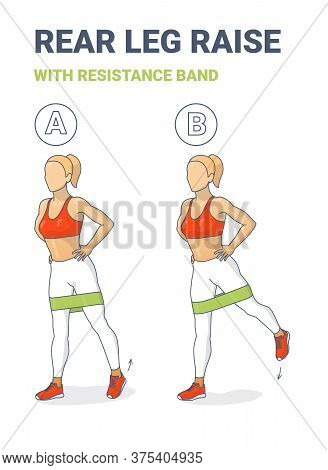 Standing Rear Leg Lift With Resistance Band Exercise Illustration. Colorful Concept Of Girl Does The