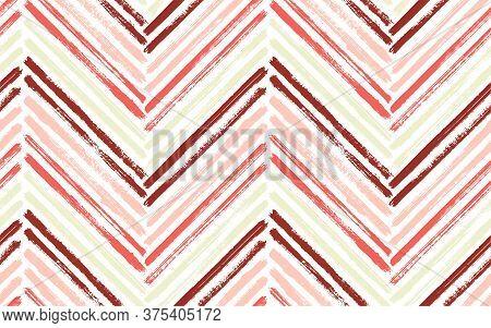 Organic Chevron Fashion Print Vector Seamless Pattern. Paint Brush Stroke Geometric Stripes. Hand Dr
