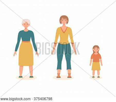 Woman At Different Ages Isolated On The White Background. Aging Process. Little Girl, A Young Woman,