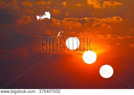Incredible Light Red Orange Yellow Sky Sunset Back Red Cloud In The Evening