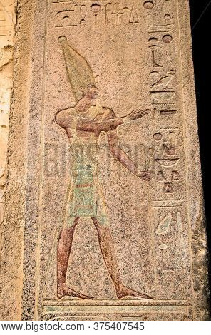 Luxor, Egypt - Jan 28, 2020: The hieroglyphs at Temple of Hatshepsut, Luxor. The Mortuary Temple of Hatshepsut, also known as the Djeser-Djeseru is a mortuary temple of Ancient Egypt