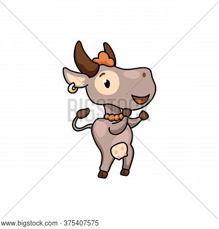 Cute Cow Cartoon Character Dance. 2021 Year Lunar Zodiac Animal. Chinese New Year Of Ox. Cow Vector