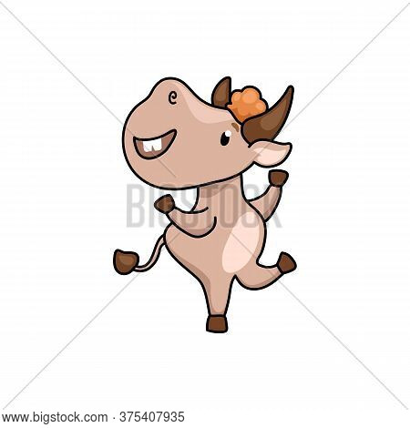 Cute Ox Cartoon Character Dance. 2021 Year Lunar Zodiac Animal. Chinese New Year Of Ox. Cow Vector I