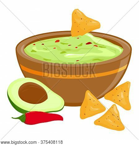 Bowl Of Guacamole Dip, Avocado, Red Chili Pepper And Nachos. Vector Illustration