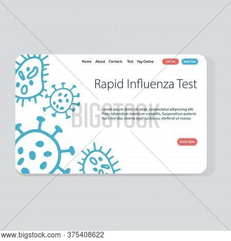 Rapid Influenza Test Website Template Made In Vector. Doodle Concept Illustration For Medical Servic