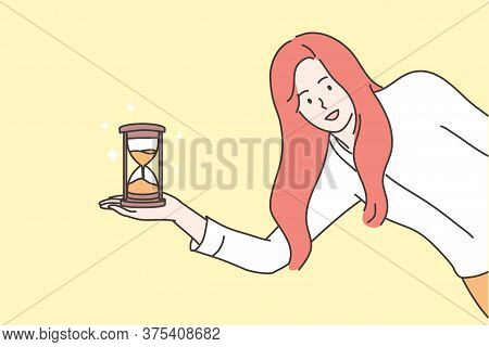 Time Management, Business Concept. Young Smiling Businesswoman Girl Clerk Manager Cartoon Character