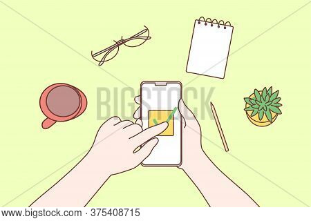 Technology, Mobile, Media, Business Concept. Human Character Hands Using Smartphone In Office For Wo