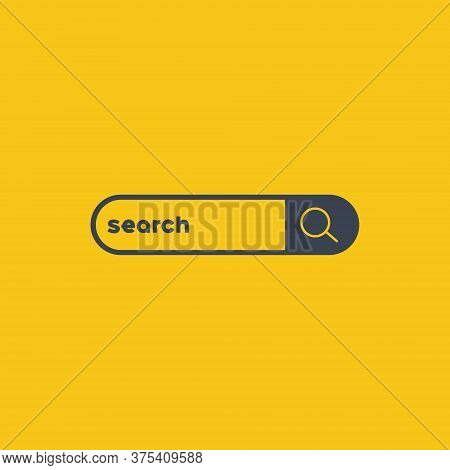 Web Search Bars. Search Box. Vector Symbol On Orange Background
