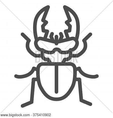 Stag-beetle Line Icon, Insects Concept, Large Beetle Sign On White Background, Deer Bug Icon In Outl