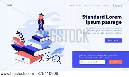 Graduate From School Or College. Student Girl Wearing Graduation Hat Standing On Stack Of Books Flat