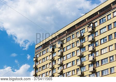 Bialystok City In Poland Architecture Background. High Block Of Flats Skyscraper Living Area. Old Ne