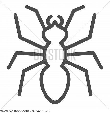 Ant Line Icon, Insects Concept, Emmet Sign On White Background, Ant Silhouette Icon In Outline Style
