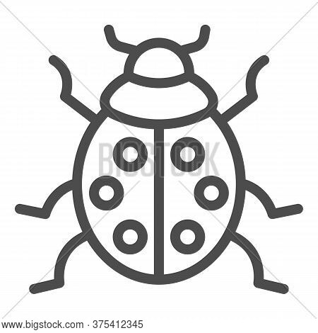 Ladybug Line Icon, Beetles Concept, Ladybird Sign On White Background, Lady-beetle Icon In Outline S