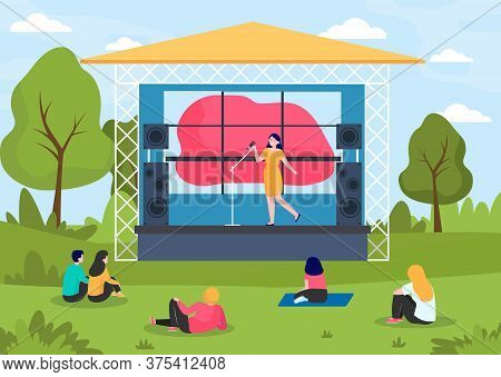 Outdoor Music Festival. People Enjoying Concert At Stage In Park Flat Vector Illustration. Concert,