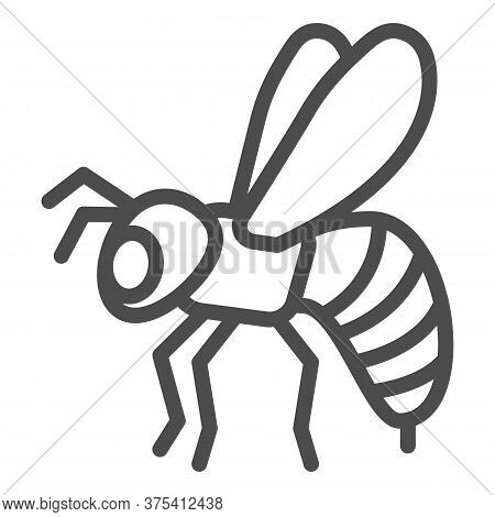 Bee Line Icon, Insects Concept, Honeybee Sign On White Background, Flying Bee Insect Icon In Outline
