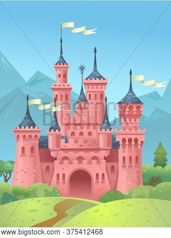 Castle In The Mountains. Princess Castle. The Building Of The Middle Ages. Vector Illustration